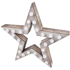 Stern Deko Objekt mit 25 LED Lampen Holz 30x30x6cm braun natur Xmas Weihnachten Beleuchtung