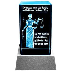 Kaltner Präsente Stimmungslicht LED Kerze/Kristall Glasblock / 3D-Laser-Gravur Sternzeichen Waage
