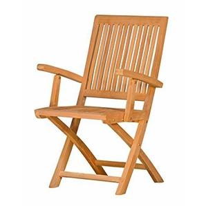 KAI-WIECHMANN® Vitello mit Armlehnen ? Gartenmöbel aus Teak-Holz ? Teakstuhl ? Gartenstuhl ? Holz-Klappstuhl | Bequemer Gartenstuhl, Balkonstuhl für draußen | Hochwertiger Klappsessel, Balkonsessel für den Garten