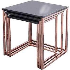 DuNord Design Couchtisch Beistelltisch STAGE LONG 2er Set schwarz ...
