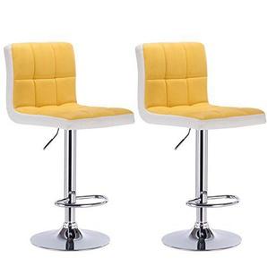 WOLTU® BH40gbw-2 2 x Barhocker Tresen Stuhl Drehhocker Kunstleder Lounge 2 farbig Gelb+Weiss