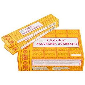 Pamai Pai® 192g Nag Champa Räucherstäbchen Goloka - Grundpreis: 5,98€/100g - Agarbathi 12 x 16g Räucherwerk gelb Duft