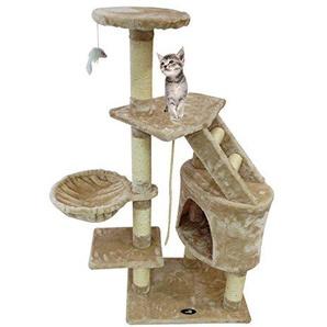 Todeco - Kratzbaum, Katzen Kletterbaum - Material: MDF - Katzenhausgröße: 30,0 x 30,0 x 42,9 cm - 120 cm, 5 Plattformen, Beige