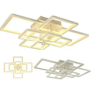 LED Deckenleuchte 6087-8 + LED LED lampe LED Leuchte Beleuchtung Einbauleuchte Wandleuchte Spot Lüster97*76 cm H 19 cm 100 W mit Fernbedienung Lichtfarbe/Helligkeit einstellbar, Acryl-Schirm, weiß lackierter Metallrahmen (6087-8 97*76 cm H 19 cm 100 W)