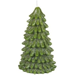 Weihnachtskerze grüne Tanne mit Glitzer