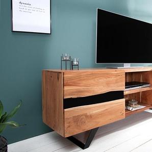 Massives TV Board AMAZONAS 160cm Akazie Metall Lowboard Baumkante