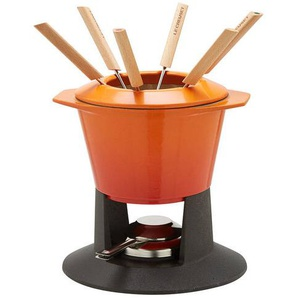 Fondue-Set Gourmand, emailliertes Gusseisen, in Ofenrot
