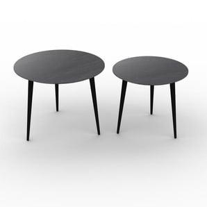 Couchtisch Schwarz - Eleganter Sofatisch: Beste Qualität, einzigartiges Design - 60/50 x 47/44 x 60/50 cm, Konfigurator