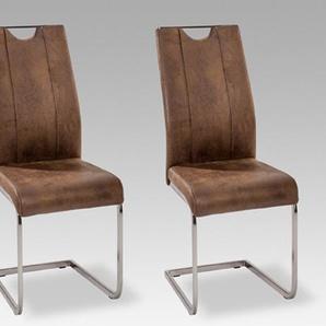 4 Schwingstühle im dunklen Vintage Look mit Kufen in Edelstahloptik und Griff, Maße: B/H/T ca. 43/102/58 cm