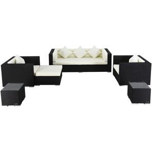 OUTFLEXX Loungemöbel-Set, schwarz, Polyrattan, für 6 Personen, wasserfeste Kissenbox