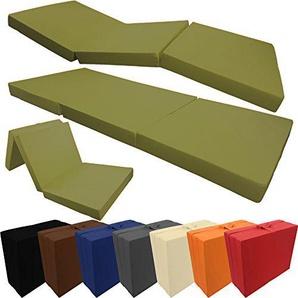 PROHEIM Klappmatratze Compact 190 x 60 x 7 cm Komfortable Faltmatratze/Gästematratze mit Microfaserbezug Bequemes Notbett/Gästebett, Farbe:Army