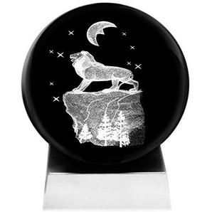 Kaltner Präsente Stimmungslicht – Ein ganz besonderes Geschenk: LED Kerze/Kristall Glaskugel / 3D-Laser-Gravur Motiv Tiere Löwe