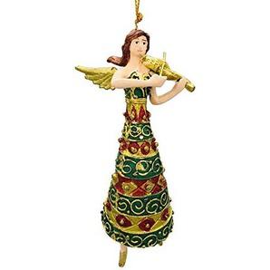 Engel mit Geige, Deko Hänger mit Verzierungen, Christbaumschmuck, gold, grün, 15 cm