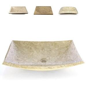 Divero Mailand eckige Waschschale Aufsatz-Waschbecken Handwaschbecken Marmor Natur-Stein poliert creme sand