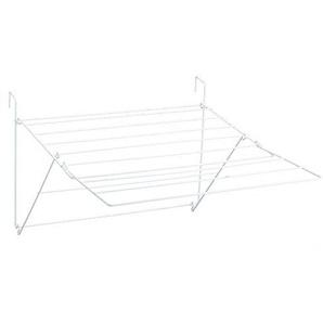 Sauvic 88827 - Wäscheständer für Balkon, kunststoffbeschichtet weiß, ausziehbarer, 61 x 87 x 32 cm.