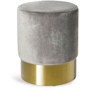 Samthocker, rund, D:34cm x H:42cm, grau