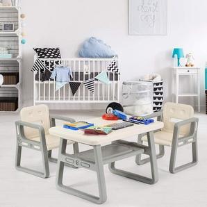 COSTWAY 3 TLG. Kindersitzgruppe, Kindertischgruppe, Kindertisch mit 2 Stühlen, Kindermbel aus Kunststoff, Sitzgruppe fuer Maedchen und Jungen im Alter von 1-3 Jahre