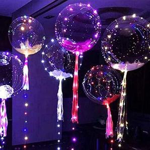 Yukio Festival - Helium Balloon LED 13 Zoll Bobo Ballon Blinklichter für Geburtstag Hochzeit Weihnachten Party Dekoratiob, füllung mit Helium, Nacht Party Supplies (24 Zoll)