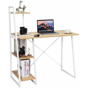COSTWAY Computertisch mit Regale, Schreibtisch mit Metallrahmen, Arbeitstisch Buerotisch PC-Tisch