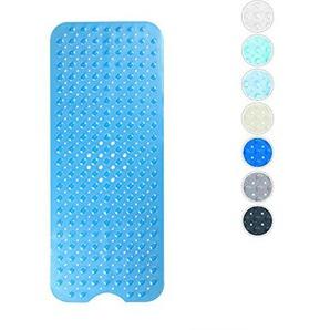 Domowin Badematte, Badewannenmatte mit 200 Saugnäpfen Badewanneneinlage Rutschfeste Duschmatte 100 x 40 cm (Transparent Blau)