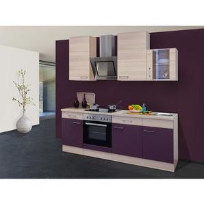 Flex-Well Exclusiv Küchenzeile Focus 220 cm Akazie-Aubergine