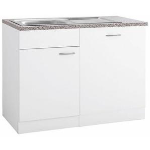 wiho Küchen Spülenschrank »Kiel« 110 cm breit, inkl. Tür/Griff/Sockel für Geschirrspüler, weiß