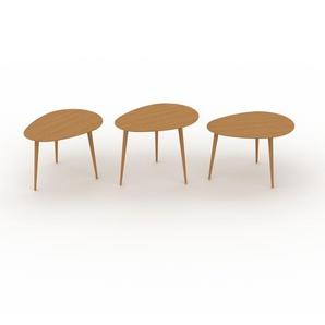 Couchtisch Eiche, Holz - Eleganter Sofatisch: Beste Qualität, einzigartiges Design - 67/67/67 x 44/50/44 x 50/50/50 cm, Konfigurator