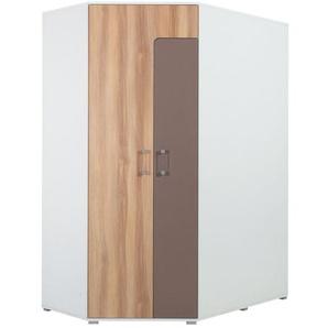 Jugendzimmer - Drehtürenschrank / Eckkleiderschrank Lian 01, Hellbraun / Weiß / Cappuccino - Abmessungen: 195 x 145 x 95 cm (H x B x T)