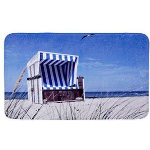 WENKO 20951100 Badteppich Strandkorb - Duschvorleger, 100 % Polyester, Mehrfarbig
