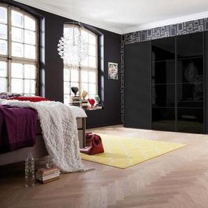 Express Möbel Schwebetürenschrank mit Synchronöffnung, schwarz/Schwarzglas