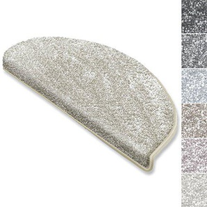 casa pura Stufenmatten Sundae   viele Varianten   Treppenteppich mit kuschlig weichem Flor   kombinierbar mit passenden Läufern   Creme - Halbrund - 1 Stück
