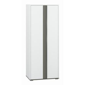 Jugendzimmer - Drehtürenschrank / Kleiderschrank Connell 02, Farbe: Weiß / Anthrazit - Abmessungen: 200 x 80 x 51 cm (H x B x T), mit 2 Türen und 7 Fächern