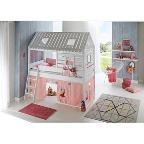 Hochbett Spielbett BERGEN-13 Buche massiv weiß lackiert. Textilset Princess