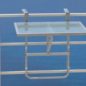 MERXX Balkonhängetisch Stahl/Glas, klappbar