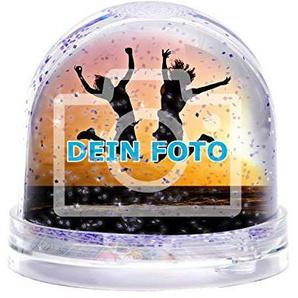 Glitzerkugel mit eigenem Foto gestalten (Schneekugel mit individuellem Bild bedruckt; per Thermo-Sublimationsdruck, aus Acrylglas, ideal als Geschenk zum Valentinstag) (funkelnder Glitzer)