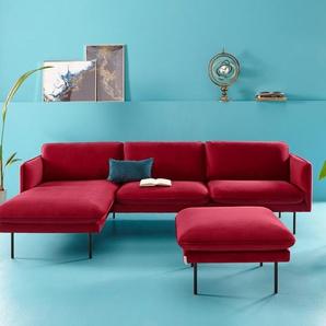 Inosign Eck-Sofa »Levon«, rot, Recamiere links, B/H/T: 280x45x60cm, hoher Sitzkomfort