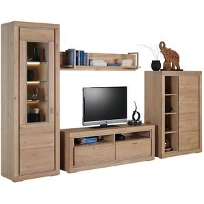 Cantus: Wohnwand, Holz, Glas,Eiche, Eiche, B/H/T 336 200 42