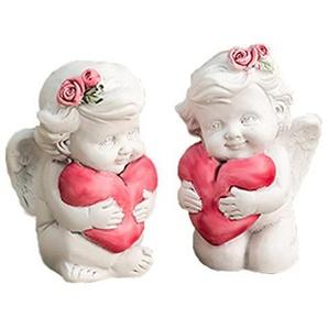 Engel 2er Set Schutzengel Glücksengel mit Herz Engelsfigur Engelfigur Figur rote Herzen mit Geschenkverpackung