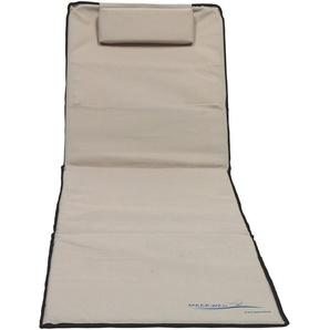 XXL Strandmatte mit Schirm gepolstert 200 x 60 x 3 cm beige Badematte Strandtuch mit Rückenlehne Strandliege faltbar inkl. Kopfkissen Tragetasche - MEERWEH