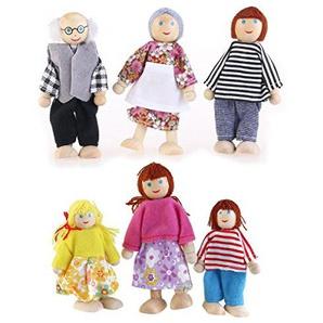 qiansheng 6PCS Holz Puppe Familie Happy Puppe Figuren inkl. Großeltern Puppe Spielzeug House Set für Kinder Spaß Rolle spielen