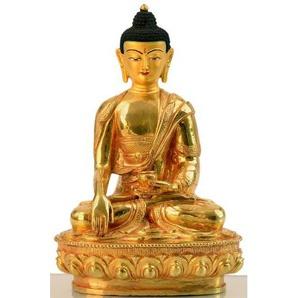 Buddha-Statue - Shakyamuni Buddhafigur Bronze feuervergoldet 20 cm