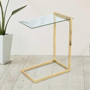 Glas Beitisch in Goldfarben 60 cm breit