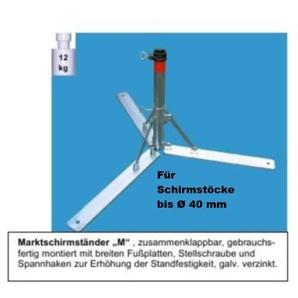 Sonnenschirmständer - aus 4 mm Ø DEUTSCHEM STAHL - DER STABIELO ® - KLAPPBARE SCHIRM - METALLSTÄNDER für SCHIRMSTÖCKE BIS Ø 40 mm - SONNENSCHIRMSTÄNDER - SCHIRMHALTER - MADE in GERMANY - M 40 - mit breiten Fußplatten HOLLY PRODUKTE STABIELO ® -