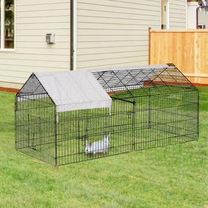 PawHut® Freigehege Kaninchenstall mit Sonnenschutz Metall Beige