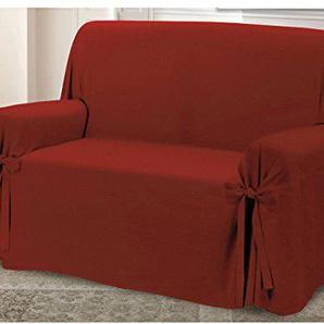 Sofaüberwurf mit Bindebändern, hochwertiges Design, Modell: O.B. 2 Posti bordeaux