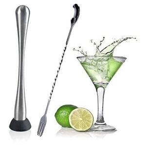 Edelstahl Cocktail-Stößel und Löffel Set für Bar Kneipe Zuhause