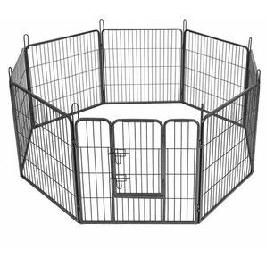 FEANDREA 8-Eck Welpenauslauf Welpenlaufstall für Hunde Kaninchen kleine Haustiere mit Tür 80 x 80cm Farben auswählbar by SONGMICS Grau PPK88G