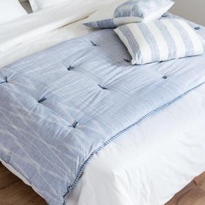 Quilt aus blauer Baumwolle mit grafischen Motiven in Weiß 100x200