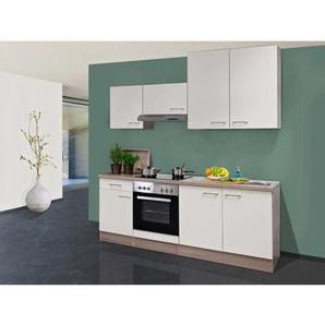 Flex-Well Exclusiv Küchenzeile Eico 210 cm Magnolienweiß-Tennessee Eiche