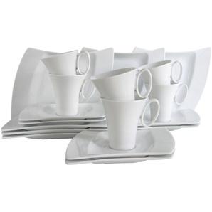 CreaTable Kaffeeservice WING (18-teilig), weiß, Gr. onesize, CREATABLE, Material: Porzellan